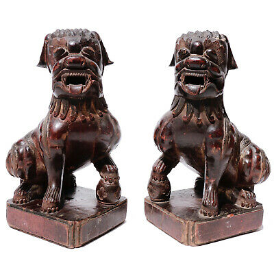Qing Dynasty Pair of Carved Hardwood Chinese Fu Dogs