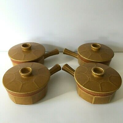 Set of 4 Mid Century Modern Ceramic Soup Crocks with Lids Japan