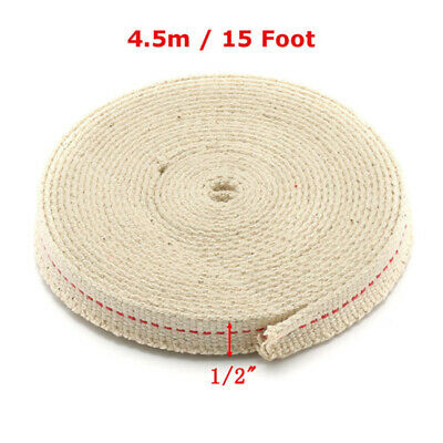"""1/2"""" Flat Cotton Wick Oil Lamp Wick 15 Foot Roll For Oil Lamps and Lanterns US"""