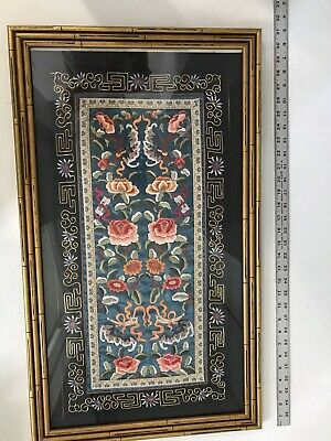Vintage OR Antique Chinese Bats Figures Silk Embroidery Glass Framed Picture