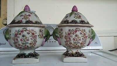 ANTIQUE Chinese Famille PORCELAIN Lidded BOWLS - Vase - Caddie CACHEPOT Urn POT