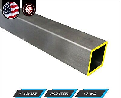 "4"" Square Tube - Mild Steel - 1/8"" Wall thickness - ERW (24"" Long)"