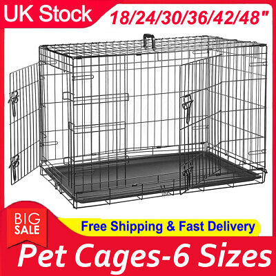 Pet Cages Metal Dog Cat Puppy Training Folding Crate Animal Transport w/ 6 Sizes