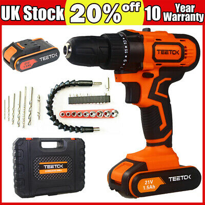 21V Cordless Combi Drill New Driver Set+ Li-Ion Fast Charge Electric Screwdriver