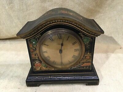 Stunning ASPREY Chinoiserie Black Lacquered Mantel Bracket Clock Japanned Paint
