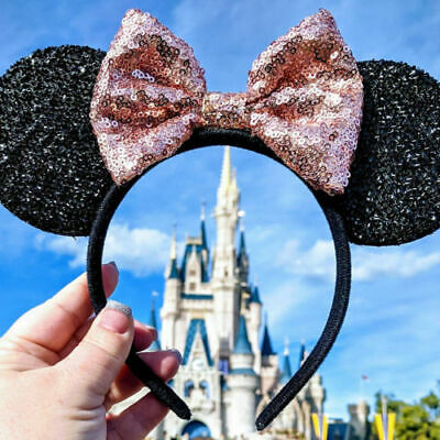 Minnie Mouse Handmade Mickey Ears Bow Sequins Headband Rose Gold Sequin Shimmer
