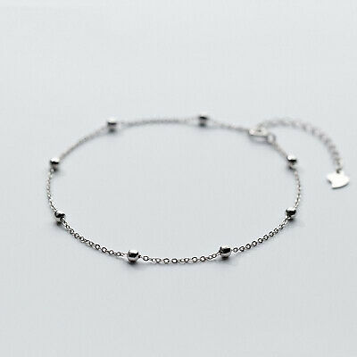 Sterling Silver Beaded Bead Link Chain Anklet Ankle Bracelet 9-10 inches