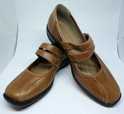 HOTTER Karen Dark Tan Bar Twin Strap Mary Jane Leather Shoes UK 7 EU 41 NEW