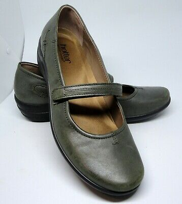 HOTTER Adorn Khaki Bar Strap Mary Jane Leather Shoes UK 7 EU 41 NEW