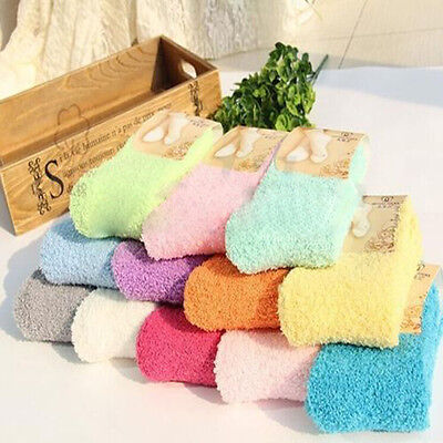 Women Girls Candy Soft Fluffy Fuzz Thick Coral Fleece Warm Winter Ankle Socks
