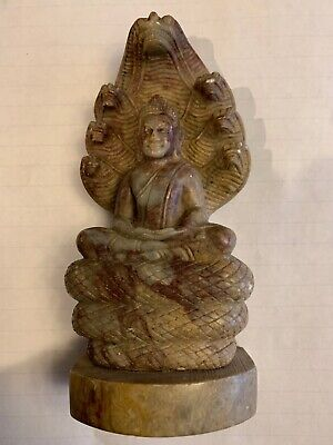 Stone BUDDAH STATUE sculpture Hand Carved Buddhist Old Antique Unique On A Snake