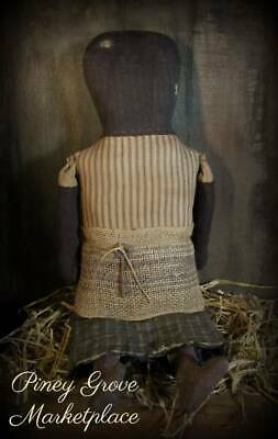 "Primitive Prairie Doll 24"" Faceless Cloth Doll Hand Made Signed By Artist Ooak"
