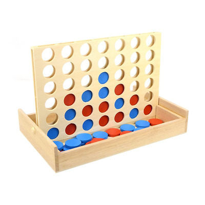 TOYMYTOY Four in A Row Wooden Game Classic Convertible Board Game Toys for Have
