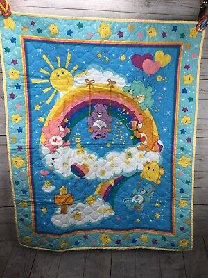 Care Bears Quilted Rainbow Baby Blanket Bedding Girls Boys Wish Tender Heart Luv