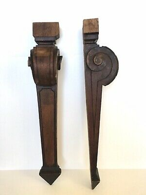 """Antique Architectural Salvage Hand Carved Wood Corbel Scroll Brackets PAIR 27"""""""