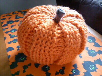 New 0-9 Months Pumpkin Crocheted Hat and Diaper Cover Fall Autumn Orange Green