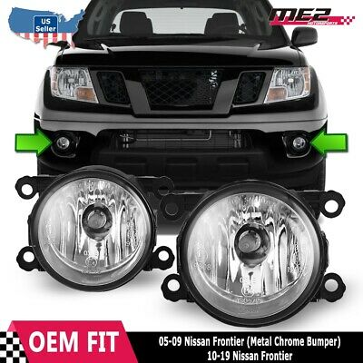 Fits 05-19 Nissan Frontier PAIR Factory Bumper Replacement Fog Lights Clear Lens