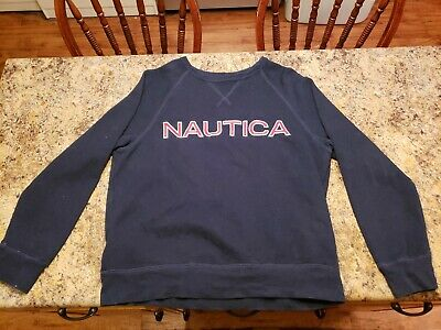 Nautica Mens L/S Spell Out Sweatshirt French Rib Crew Neck Navy Sewn Letters M