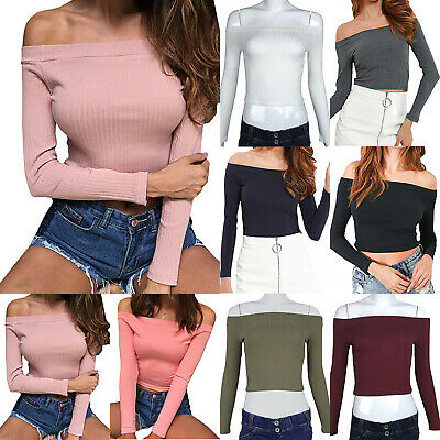Women Ribbed Off Shoulder Blouse Long Sleeve Slim Fit Bodycon Cropped Top Shirt