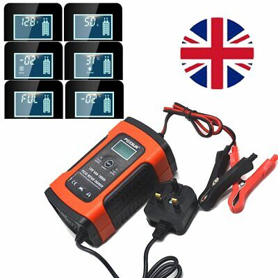 Car Battery Charger 12V LCD Intelligent Auto Motorcycle Pulse Repair Plug &Leave