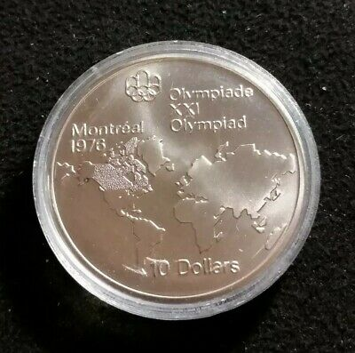 Canada 1976 Montreal Olympic $10 Dollar Silver Coin UNC BU 1.44 ASW Nice Coin
