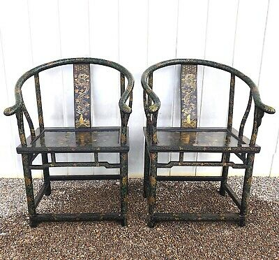 19th Century Chinese Horseshoe Back Chairs - Lacquered & Decorated - Pair