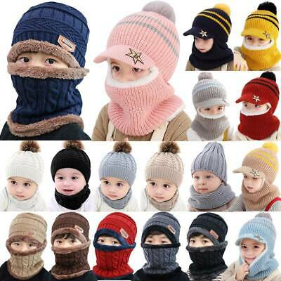 Baby Boy Girl Child Kids Winter Warm Knit Bobble Hat Beanie Cap+Snood Scarf SA