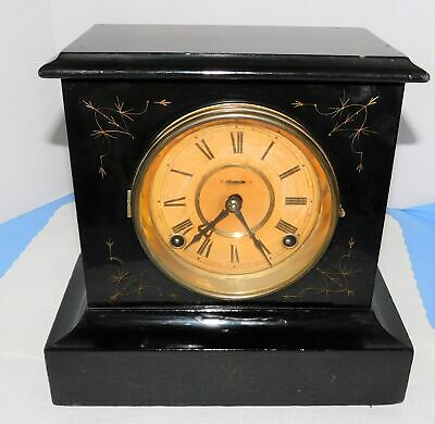 Antique Ingrahams Key Wind Eight Day Decorative Mantle Clock Cathedral Gong