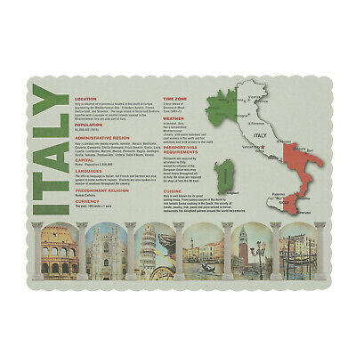 "Royal 13.5"" x 9.5"" Facts about Italy Scalloped Placemats, Pack of 1000"