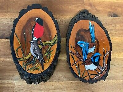 Vintage Wooden Hand Painted Bird/Floral Hanging Wall Plaques Decor