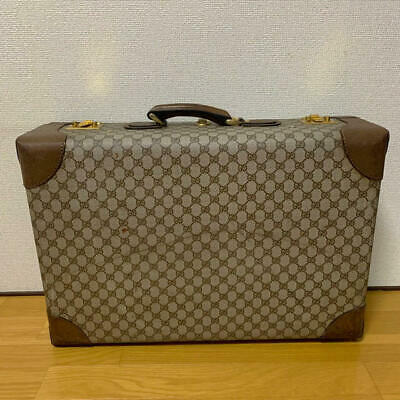 Rare GG Pattern Travel Trunk Hand Bag Authentic GUCCI Vintage