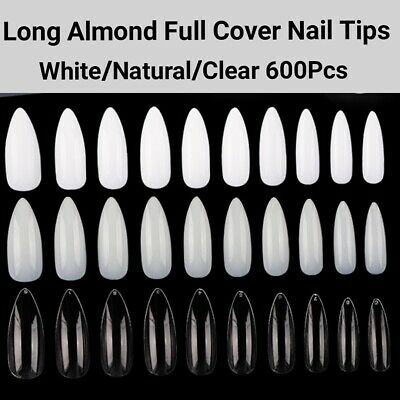 500/600Pcs Blank Coffin/Stiletto/French/Oval-Natural/Clear/WT False Nails