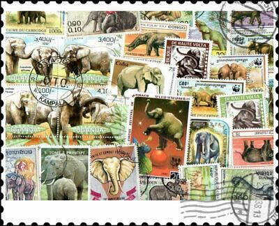 Elephants : 50 Different Stamps Collection