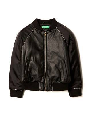 Giacca Bomber Bambino UNITED COLORS OF BENETTON 2WN053BC0 Eco Pelle Nero Mis 6-7
