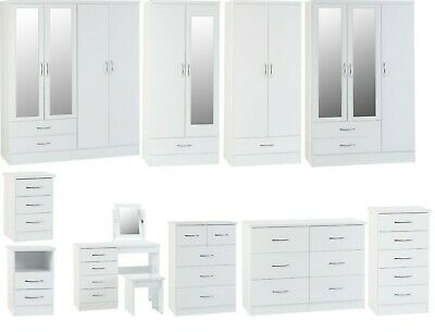 Nevada White High Gloss Bedroom Furniture - Wardrobes, Chest Drawers Or Bedsides