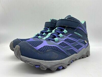 MERRELL Moab Girls Blue/Purple Waterproof Walking Hiking Mid Boots UK 2 EU 34
