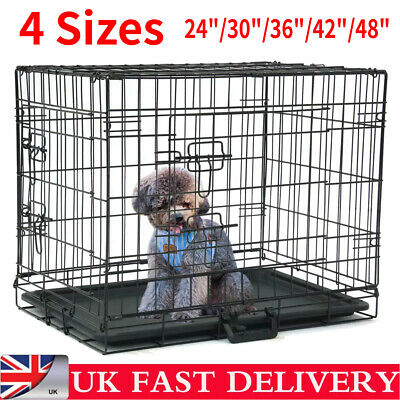 Pet Cages Metal Dog Cat Puppy Training Crate Animal Transport With Tray 4Size