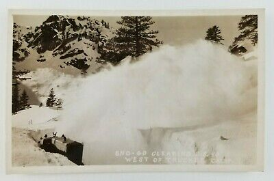 Postcard Real Photo Sno-Go Plow Clearing Snow Route 40 West Truckee California