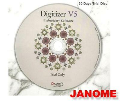Janome Digitizer v5 Software Embroidery 30 Day Trial Disc UK Version 5.0. UK