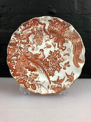 "Royal Crown Derby Red Aves 8.5"" Fluted Edge Salad Plate 2nd XXXII 1969"