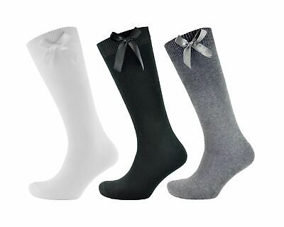 Girls Ladies Cotton Rich Knee High School Ribbon Bow Socks White, Grey or Black