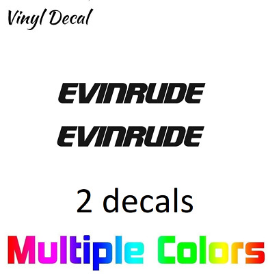 Evinrude Logo Decal Sticker Pair Boat Outboard Engine Stickers