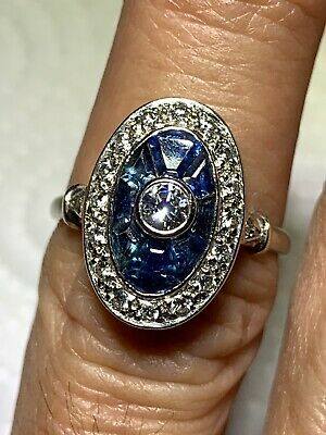 Beautiful Estate 18k White Gold Diamond Ring With Sapphires Size 7 Appraisal Inc
