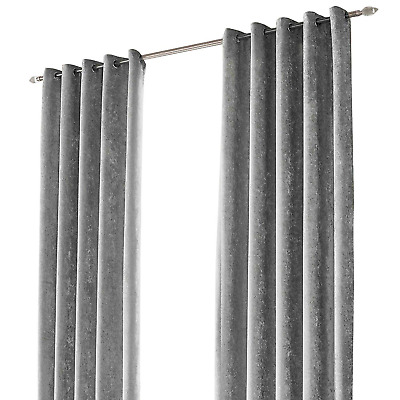 """Sienna Crushed Velvet Eyelet Ring Top Pair of Fully Lined Curtains - Silver 66"""""""