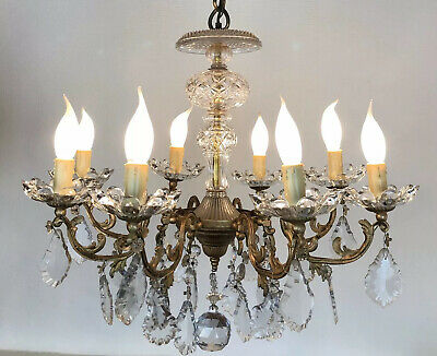 Antique French Chandelier Large 8 Arm Crystal Ceiling Light