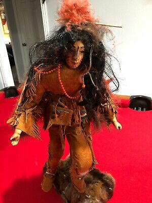 "Native American Indian Warrior Man Dancer Doll Wood Figurine 20"" Tall On Stand"