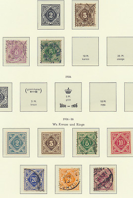 Wurttemberg Stamp Scott #O2//O34, Used, Mint Hinged, 15 Different, Officials