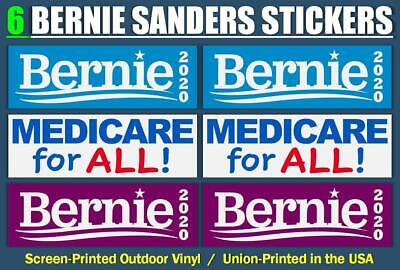 [6-Pack] BERNIE SANDERS 2020 Outdoor Bumper Stickers ( sticker medicare for all)