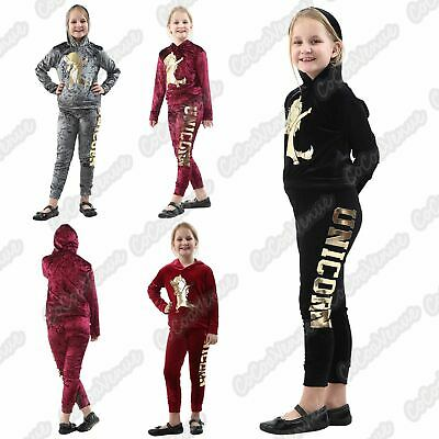 Girls Hooded Unicorn Dab Velour Tracksuit Kids Velvet Co-Ord Set Loungewear 7-13