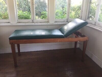Lovely Antique Adjustable Oak + Leather Doctor/Dentist/Psychiatrists Couch